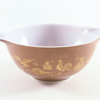 Vintage Pyrex Early American 1 1/2 Quart Cinderella Bowl 442 Brown And Gold
