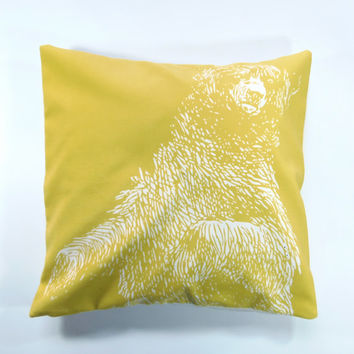 "Velveteen 18"" Vintage Bear Pillow Cover"