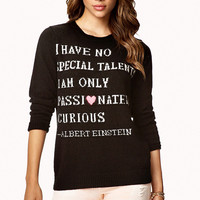 FOREVER 21 Einstein Sweater Black/White Large