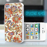 unique iphone case,glitter i phone 4 4s case,cool cute iphone4 iphone4s case,stylish  plastic rubber cases, vintage yellow red floral , ZB6
