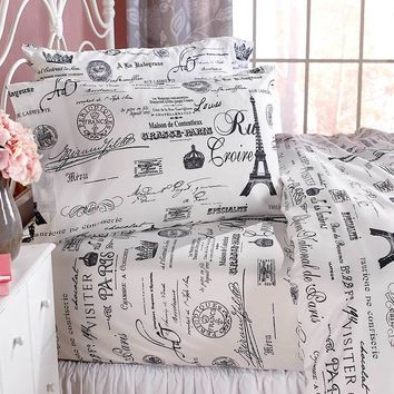 Paris Eiffel Tower Sheet Set Black White Newspaper Print w/French Words