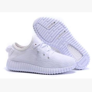 Fashion Adidas Yeezy Boost Solid Color Leisure Sports Shoes Whtie T-1