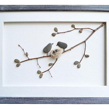 Birds and nest pebble art Woodland nursery wall decor Bird wall art Twin baby shower gift Mother of twins gift New home housewarming gift