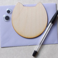 DIY Wooden Cat Face Cards, Kids Project, Gift Idea, Birch Wood, Lasercut