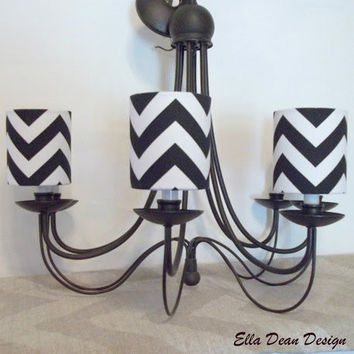 Chandelier Shades in Black and White Chevron Print