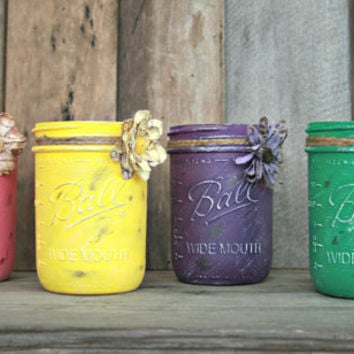 Home, Wedding, or Holiday Decor - Painted and Distressed Mason Jar, Vase or Organization
