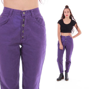 Purple Denim High Waist Pants 80s 90s Mom Jeans Hipster Hip Hop Vintage Clothing Womens Trousers Size Small