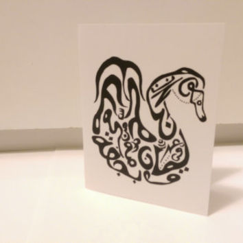 Swan Card Arabic Calligraphy Original any occasion set (blank inside, folded card)