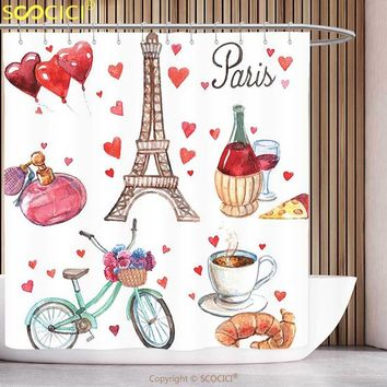 Funky Shower Curtain Paris Decor Collection Paris Illustration of Hearts Eiffel Tower Red Wine Coffee Perfume Romance Themed