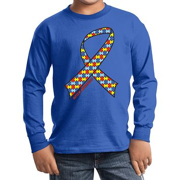 Kids Autism Ribbon Long Sleeve Shirt