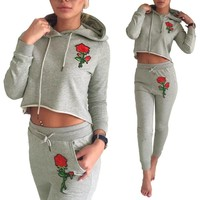 Floral Embroidery Hoodie 2 Piece Set