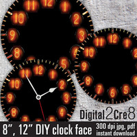 "Nixie tube style Large Clock Face - 12"" and 8"" Digital Downloads - DIY - Printable Image - Iron On Transfer - Wall Decor - Crafts - jpg+pdf"