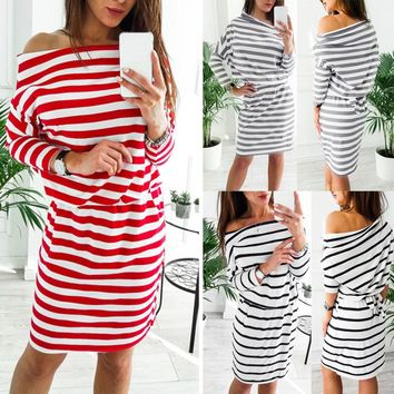 Women Casual Striped Strapless Lace-up Long Sleeved Knitting Bandage Mini Dress