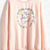 Pink Floral Embroidery Sweatshirt