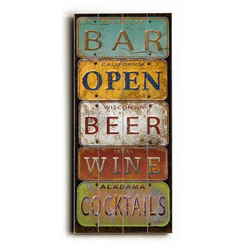 Bar License Plates by Artist Jean Plout Wood Sign