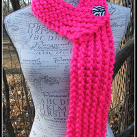 Knit Scarf. Pink. Neon. Hot Pink Button. Infinity Scarf. Scarves. Chunky. Made by Bead Gs on ETSY. Knit scarves. Winter Scarf.