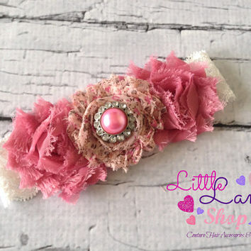 Dusty Pink Shabby Chic Baby Headband Infant Headband, newborn baby girl hair band photography props - Canada