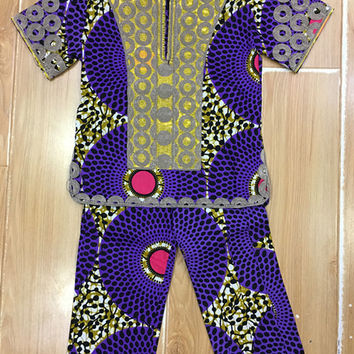 Two Piece Bazin Boys Outfit African Print