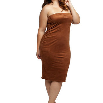 Stylzoo Women's Plus Size Stretch Faux Suede Strapless Tube Bodycon Dress