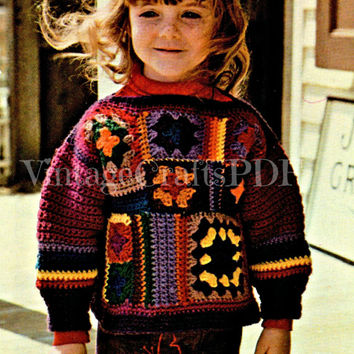 70s Crochet Vintage Pattern | Granny Square Child's Patchwork Sweater | easy retro boho hippie foundation for skirts afghans|Direct from USA