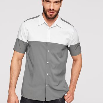 Men Tow Tone Grey And White Button Up Shirt