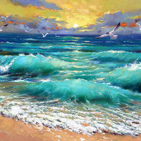 "Caribbean sea - Palette Knife Oil Painting on canvas by Dmitry Spiros. Ready to hang* Size: 44""x 28"" (110cm x 70cm)."