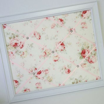 Durham Quilt Collection Pink & Red Roses on Cream background Shabby Chic fabric Framed Memo Board