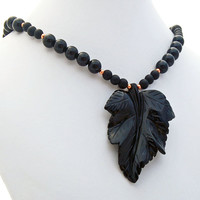 Onyx Leaf Copper Pendant Necklace, Carved Natural Stone Jewelry, Black Onyx Gemstone Beaded Necklace