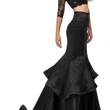Two piece black Mermaid Prom dress dq9770 - CLOSEOUT