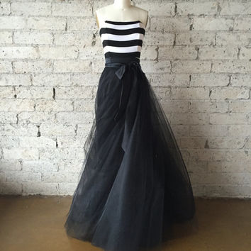 SALE Black and White Striped Strapless Tulle Gown by Ouma