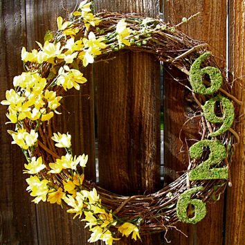 "Personalized 18"" Wreath, Front Door Decor, Online Wreath, Etsy Wreath, Spring Wreath"