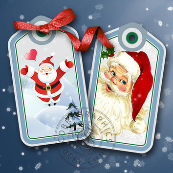 Christmas New Year Holiday Tags - Digital Collage Sheet CP-310 for for Scrapbooking, Tags, Jewelry Holders