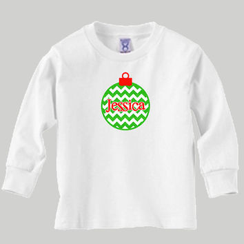 Christmas Chevron and Glitter Christmas Ornament with Personalized Name, Kid's Long Sleeve T-Shirt or Baby Onesuit
