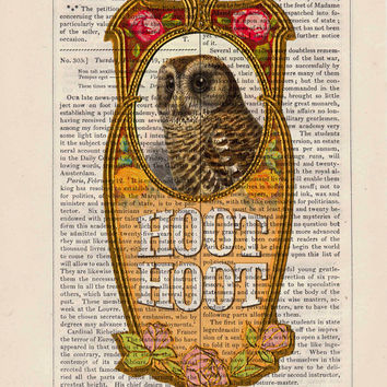 Owl Collage  - upcycled art collage book print recycled book page print book art