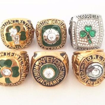 1968,1969,1981,1984,1986,2008 6pcs mens rings with wooden box for collection