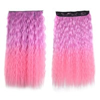 Colorful Corn Hot 5 Cards Hair Extension Wig     warm pink gradient ramp