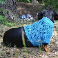 Blue Sweater Vest Handmade Openwork For Pets Clothes Hand Knitting Jacket ready to  ship