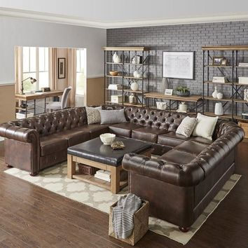 Genuine Split Grain Brown Leather 11-Seat Tufted U-Shaped Sectional