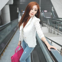 Women's Trending Popular Fashion Lace Slim Business Casual Suit Cloak Coat Outerwear Jacket _ 8941