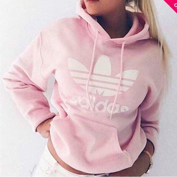 Pink Adidas Print Women's Long Sleeve Hoodies Sweater