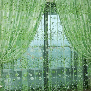 1 PCS Stylish Floral Tulle Voile Door Window Curtain Drape Panel Sheer Scarf Valances