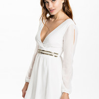 EMBELLISHED WRAP OVER DRESS - Long sleeve chiffon dress by CLUB L