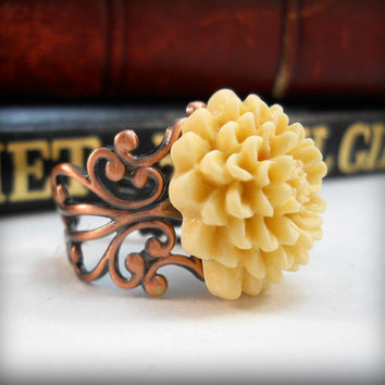 Flower Ring Copper Ring Autumn Jewelry Cream Ring Neutral Colors Copper Filigree Dinner Ring Gift Ideas for Teen Girls and Women
