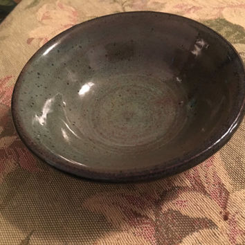 Vintage Art Pottery Bowl, 6 inch Green Bowl with black speckles, Signed Pottery Bowl, handmade pottery, Home Decor, Kitchen Decor