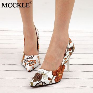 Women Pumps High Heels Ladies Floral Printing Shallow Slip On Pointed Toe Office Shoes Female Fashion Footwear