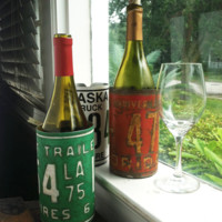 Recycled License Plate Wine Bottle Koozie Holder