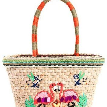 Nicole Lee Flamingo Embroidered Woven Straw Tote Bag