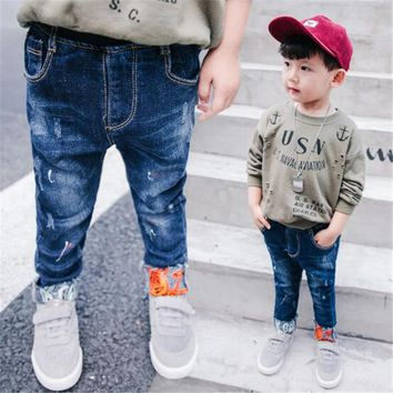 Boys Pants Jeans 2018 Fashion Boys Jeans For Spring Fall Childrens Denim Trousers Kids Toddler Elastic Waist Designed Pants 4-15