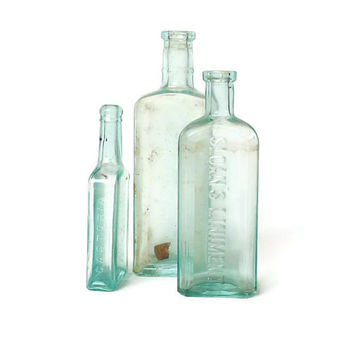 Antique Aqua Blue Apothecary Bottles