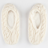 Full Tilt Womens Cable Knit Slipper Socks Ivory